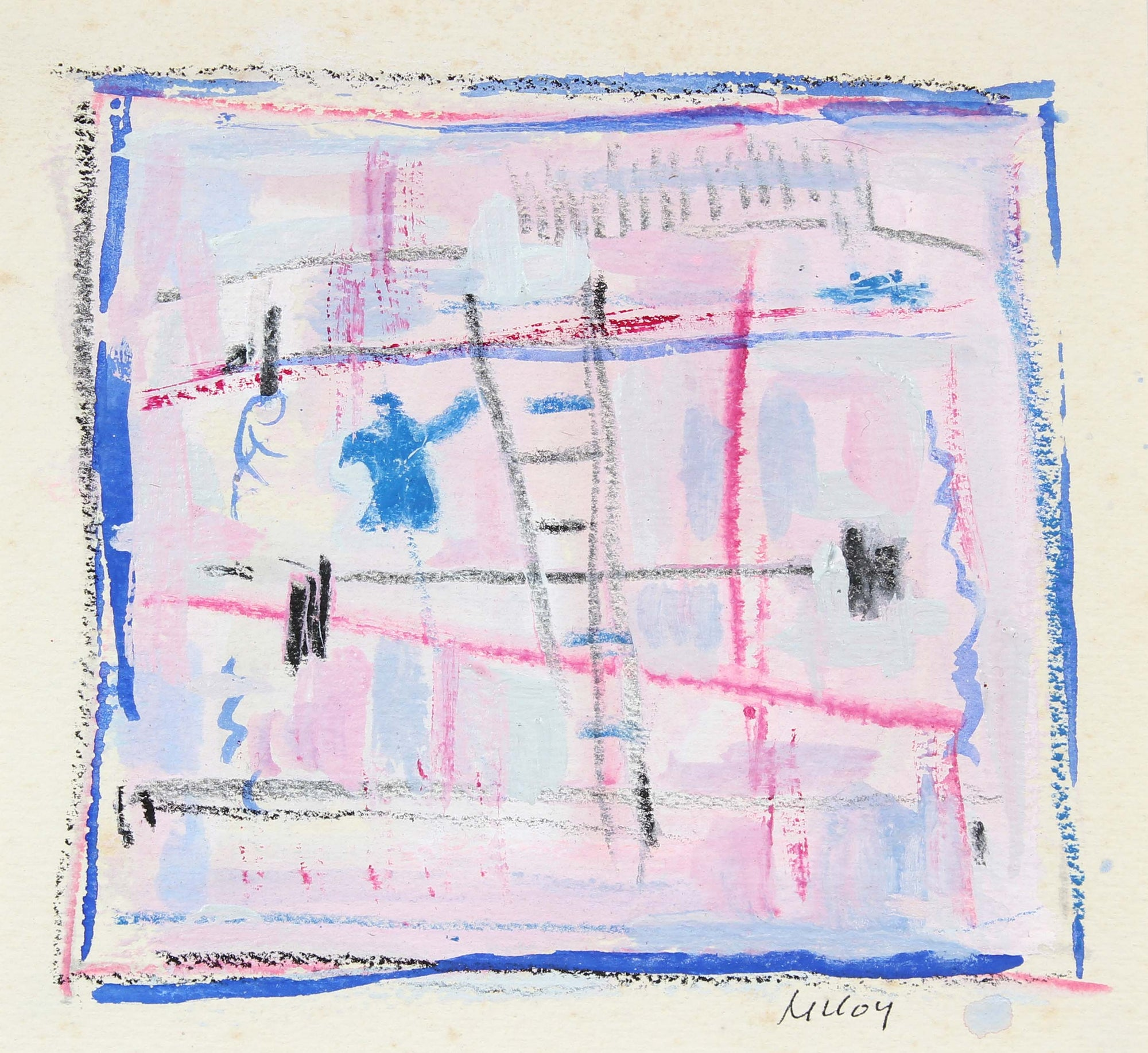 Square Abstract Drawing<br>Mid - Late 20th Century Pastel and Gouache<br><br>#A6191