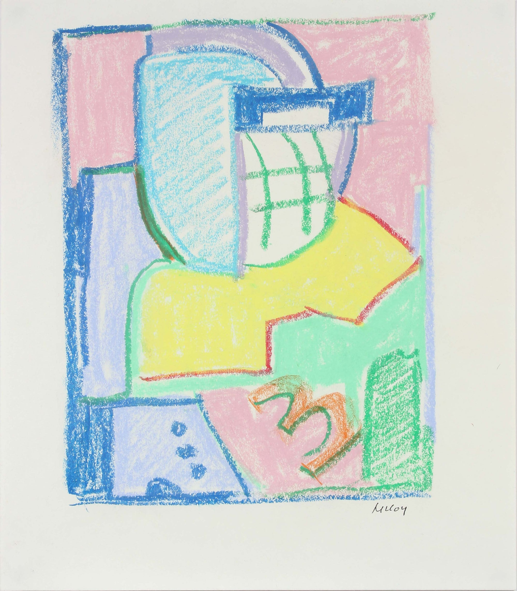 Colourful Abstract Study<br>Mid - Late 20th Century Pastel<br><br>#A6192