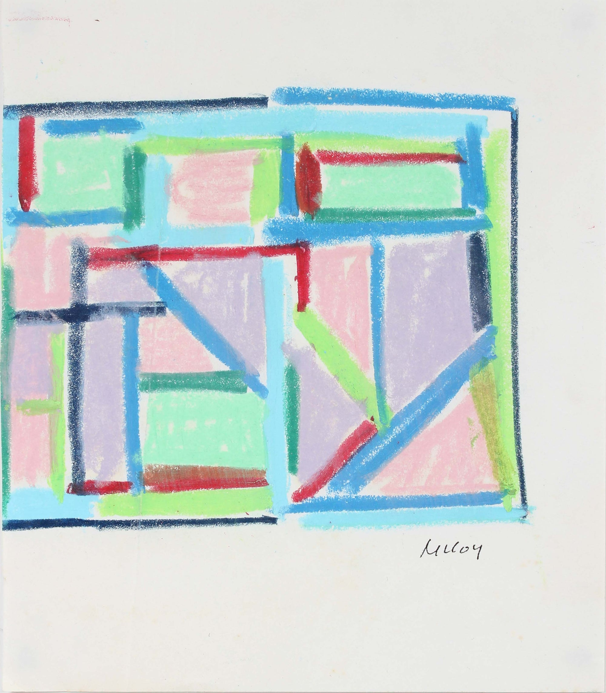 Geometric Drawing<br>Mid - Late 20th Century Pastel<br><br>#A6193