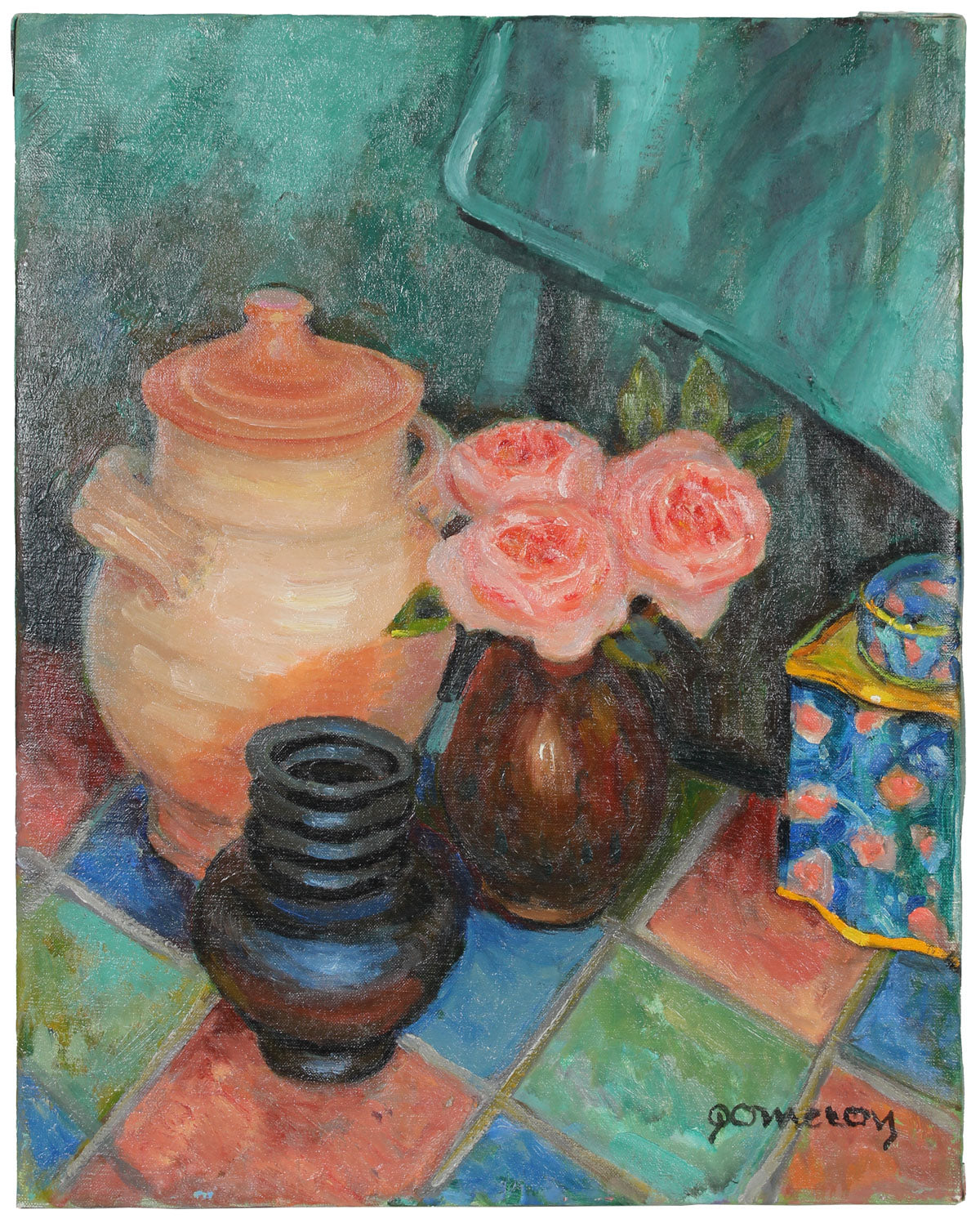 Pink Roses Still Life<br>Late 20th Century Oil<br><br>#A6316