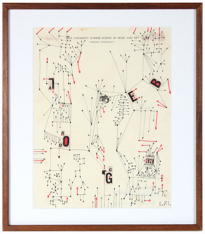Modernist Abstracted Drawing<br>1960's Ink on Paper<br><br>#A6697