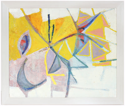 Modernist Abstract in Yellow and Lilac<br>Late 1950s Oil<br><br>#A6703