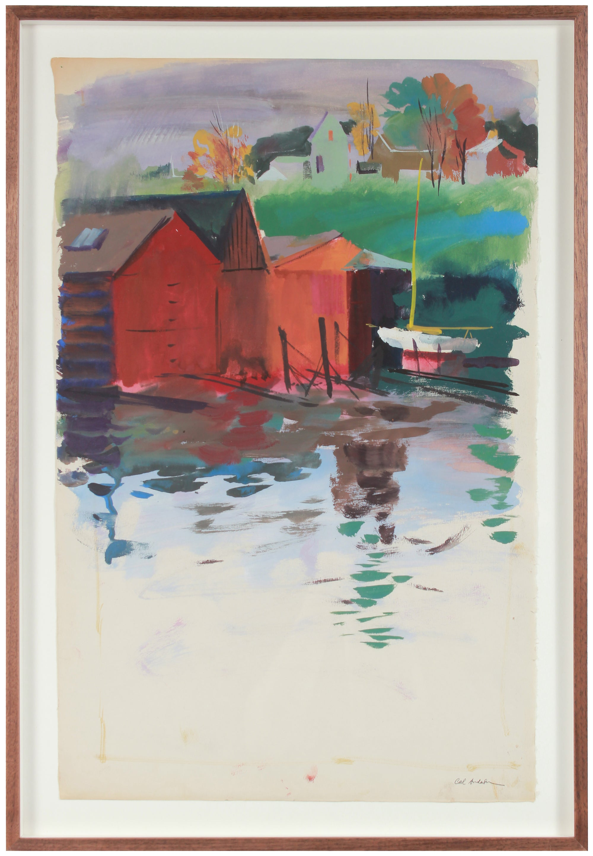 Pastoral Water Scene<br>Mid 20th Century Gouache<br><br>#A6724