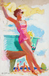 Bright Beach Scene<br>Mid 20th Century Gouache<br><br>#A6730