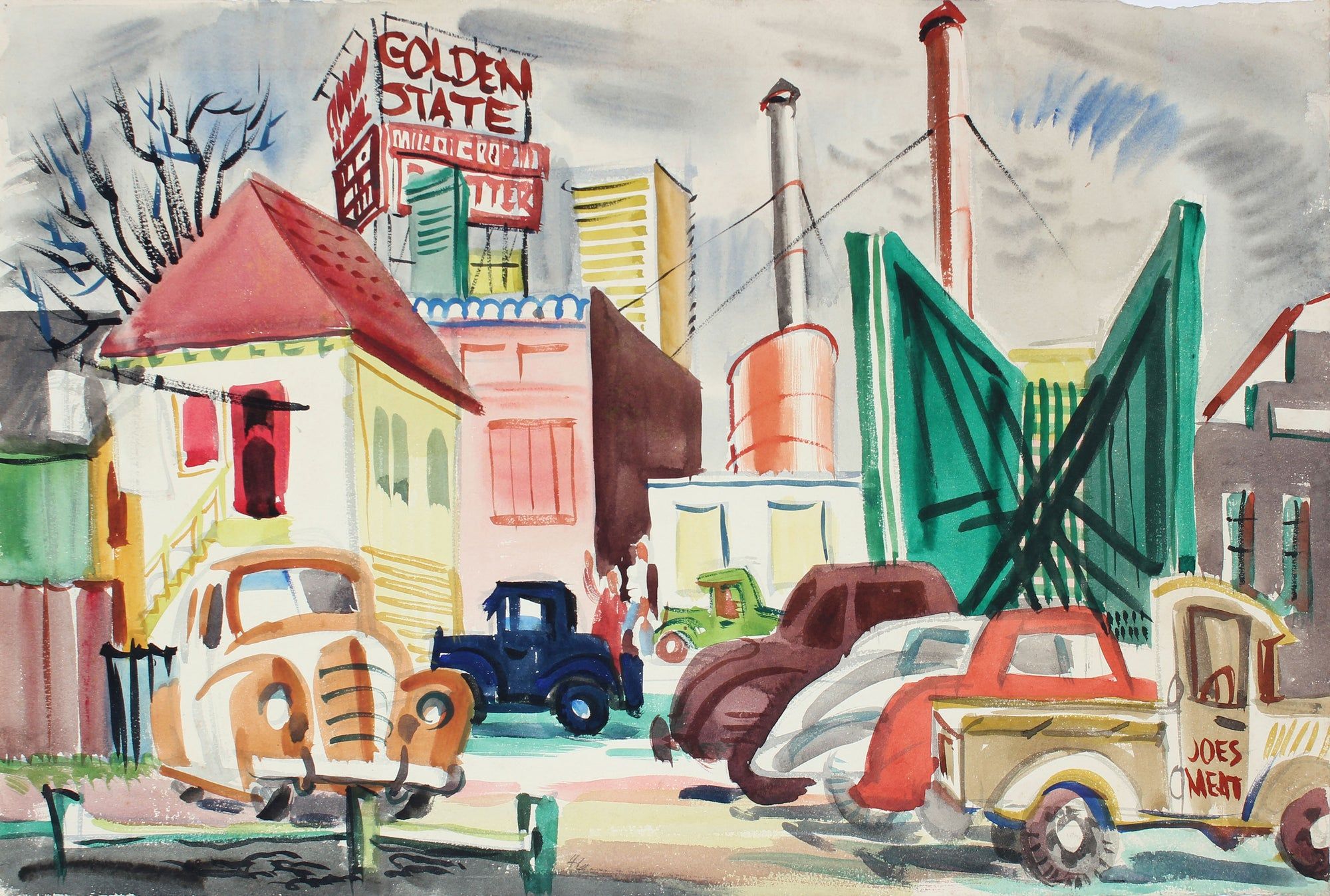 Golden State Cityscape<br>1946 Gouache<br><br>#A6740