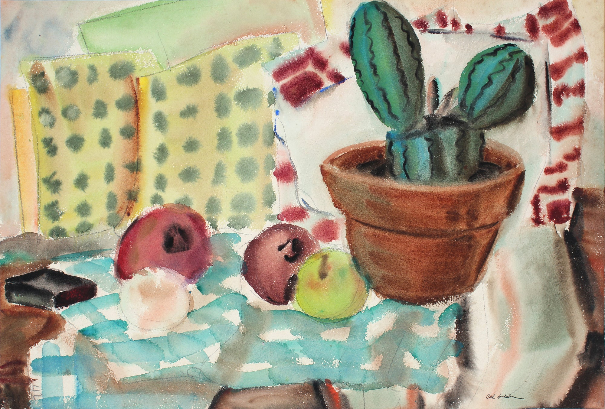 Double Sided Cactus and Aloe Still Life<br>1942 Gouache and Graphite<br><br>#A6742
