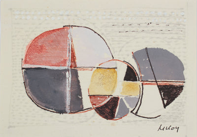 Deconstructed Circle Abstract <br>Mid Century Ink & Gouache <br><br>#A7193