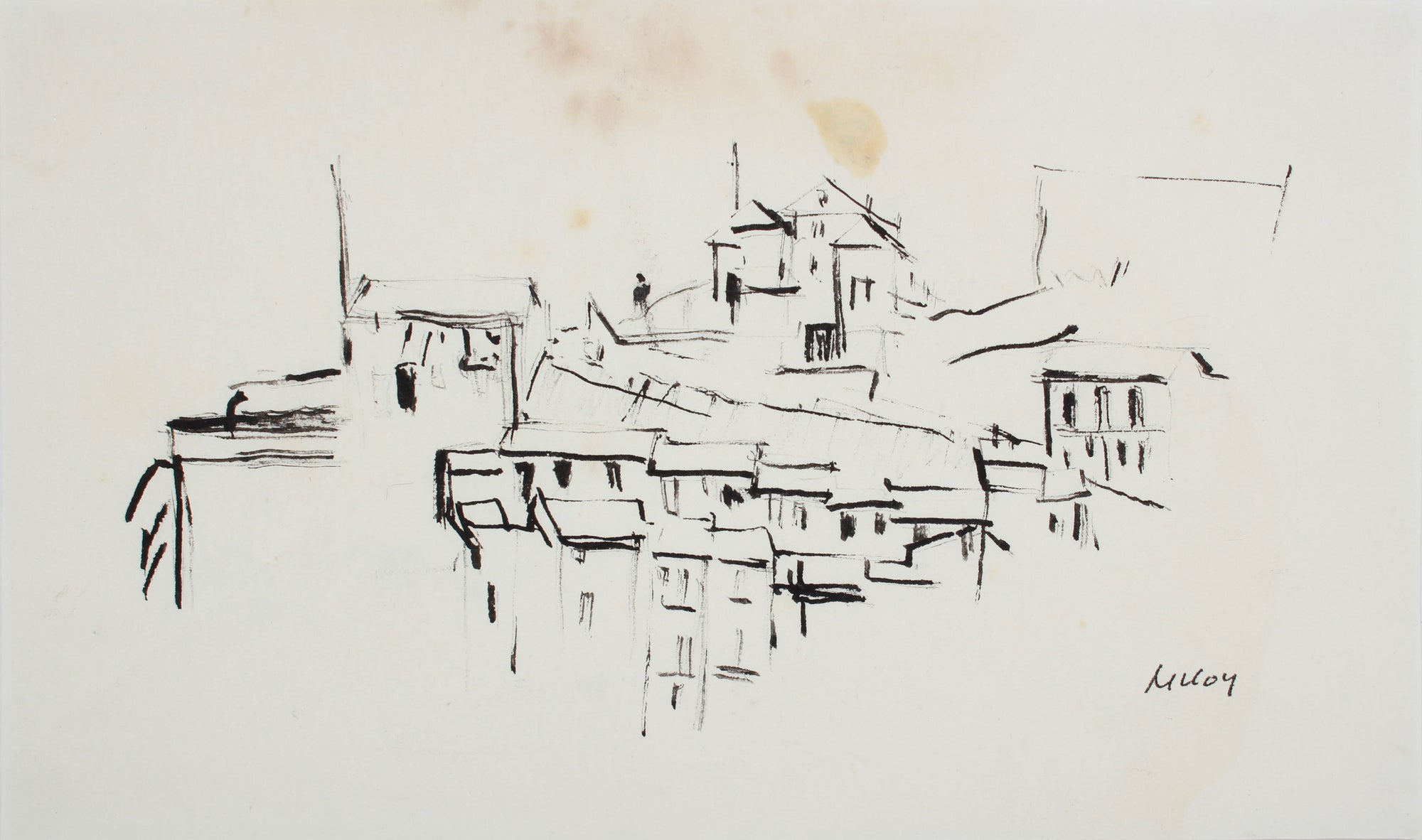 Monochromatic Cityscape<br>1958 Ink<br><br>#A7194