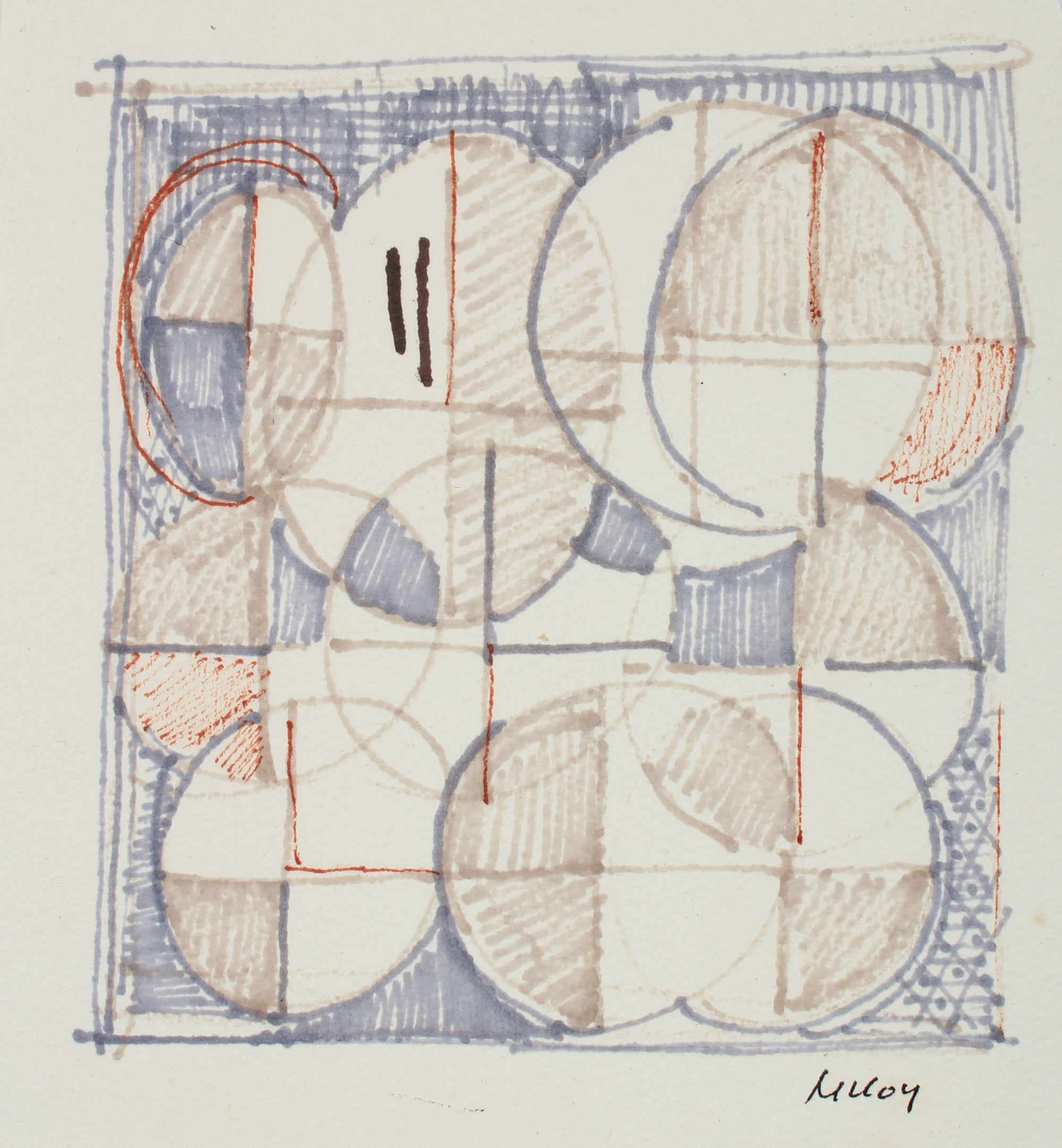 Geometric Circles in Grid<br>Mid 20th Century Ink<br><br>A7195