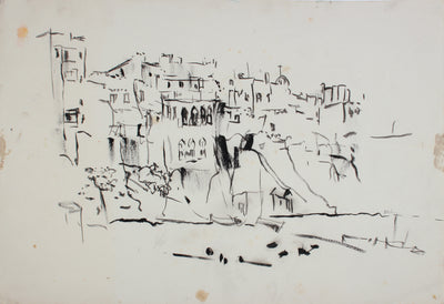 Monochrome City on the Hill <br>1959 Ink  on Paper <br><br>#A7200