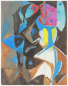 Colorful Angular Abstract <br>Late 1950s Mixed Media on Masonite <br><br>#A7207