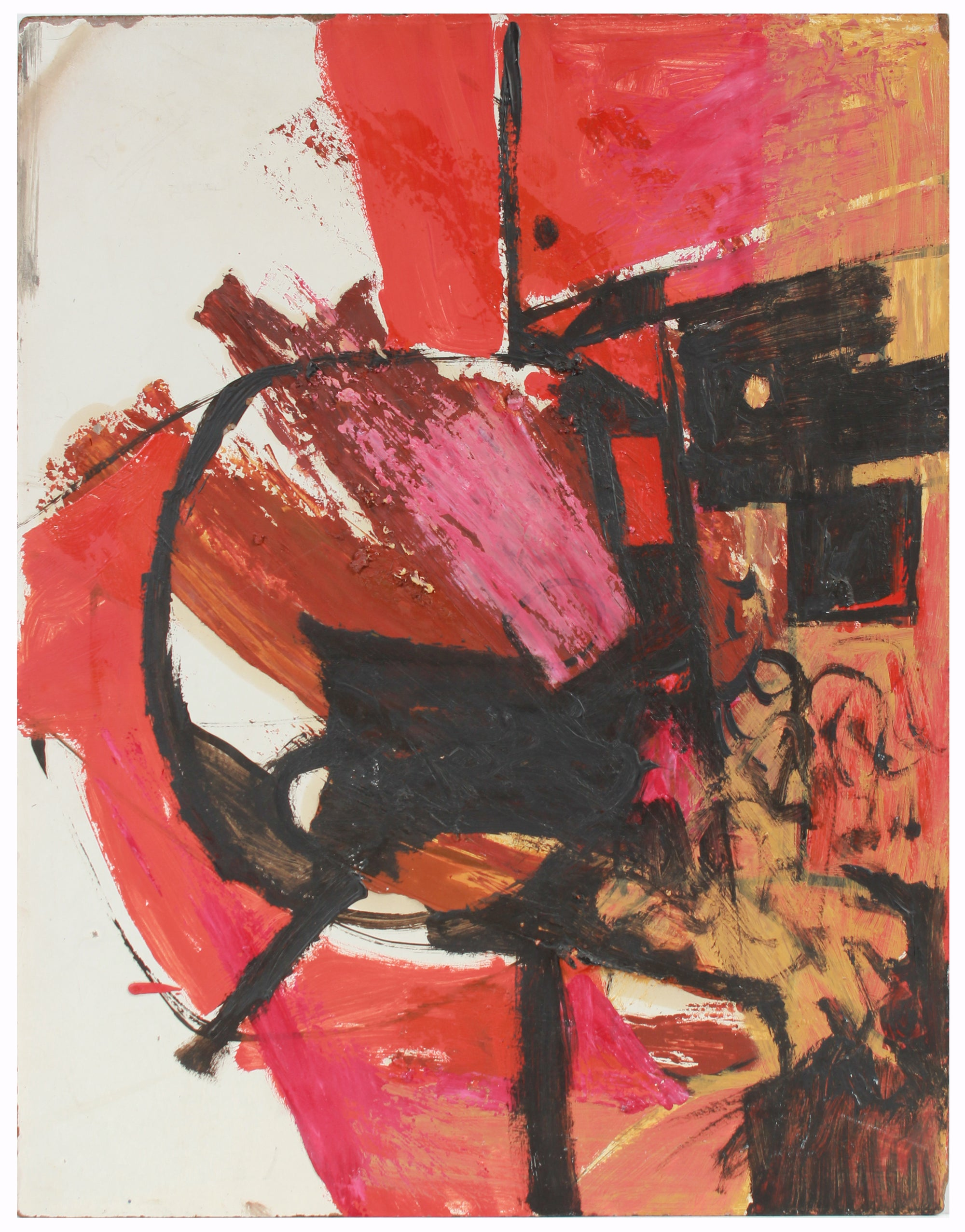 Bold Red & Black Gestural Abstract <br>Late 1950s Oil on Masonite <br><br>#A7218