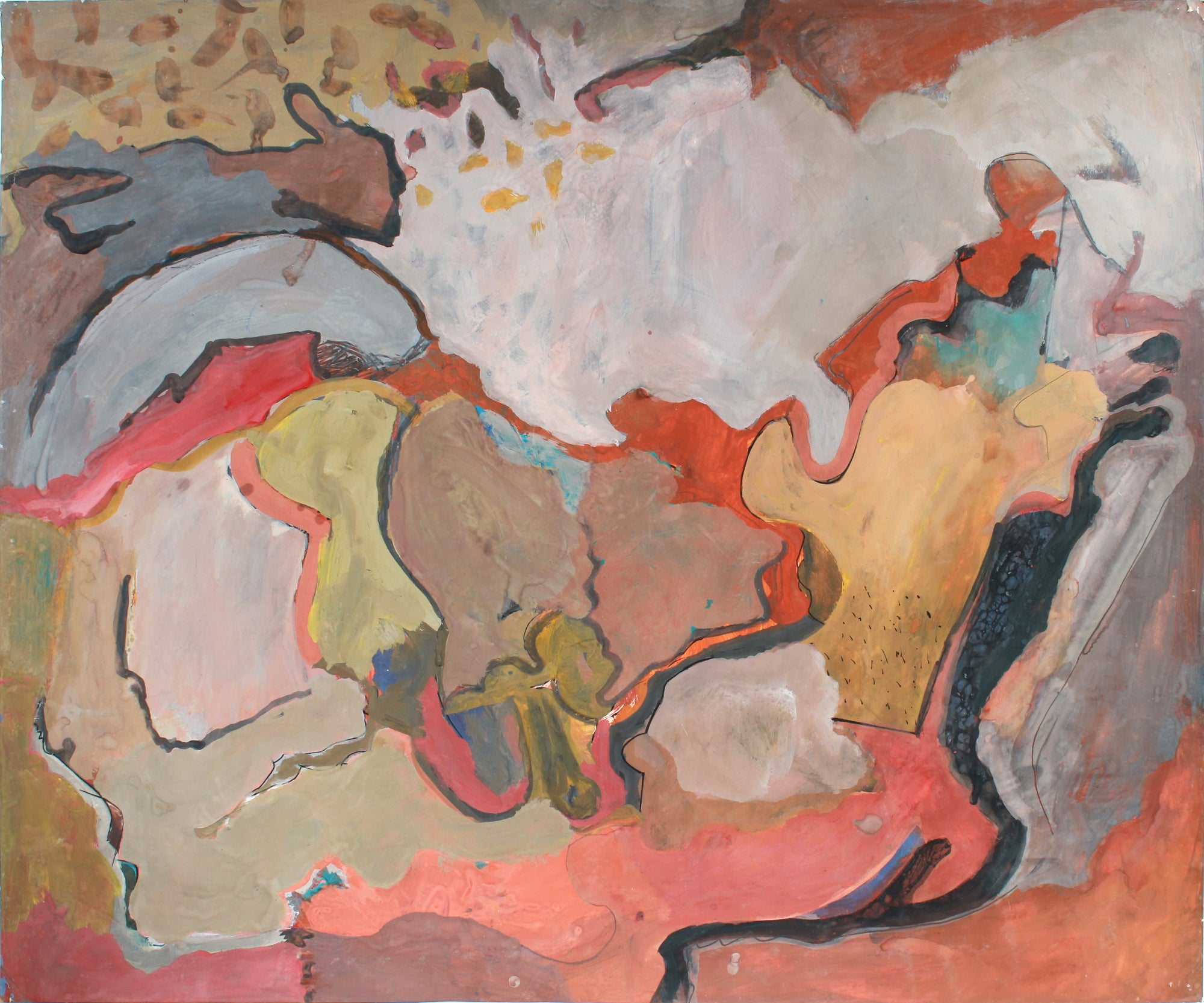 Large-Scale Abstract Expressionist Painting <br>1960-70s Paint on Paper<br><br>#A7226