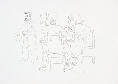 Trio at the Table <br>1960-80s Ink on Paper <br><br>#A7273