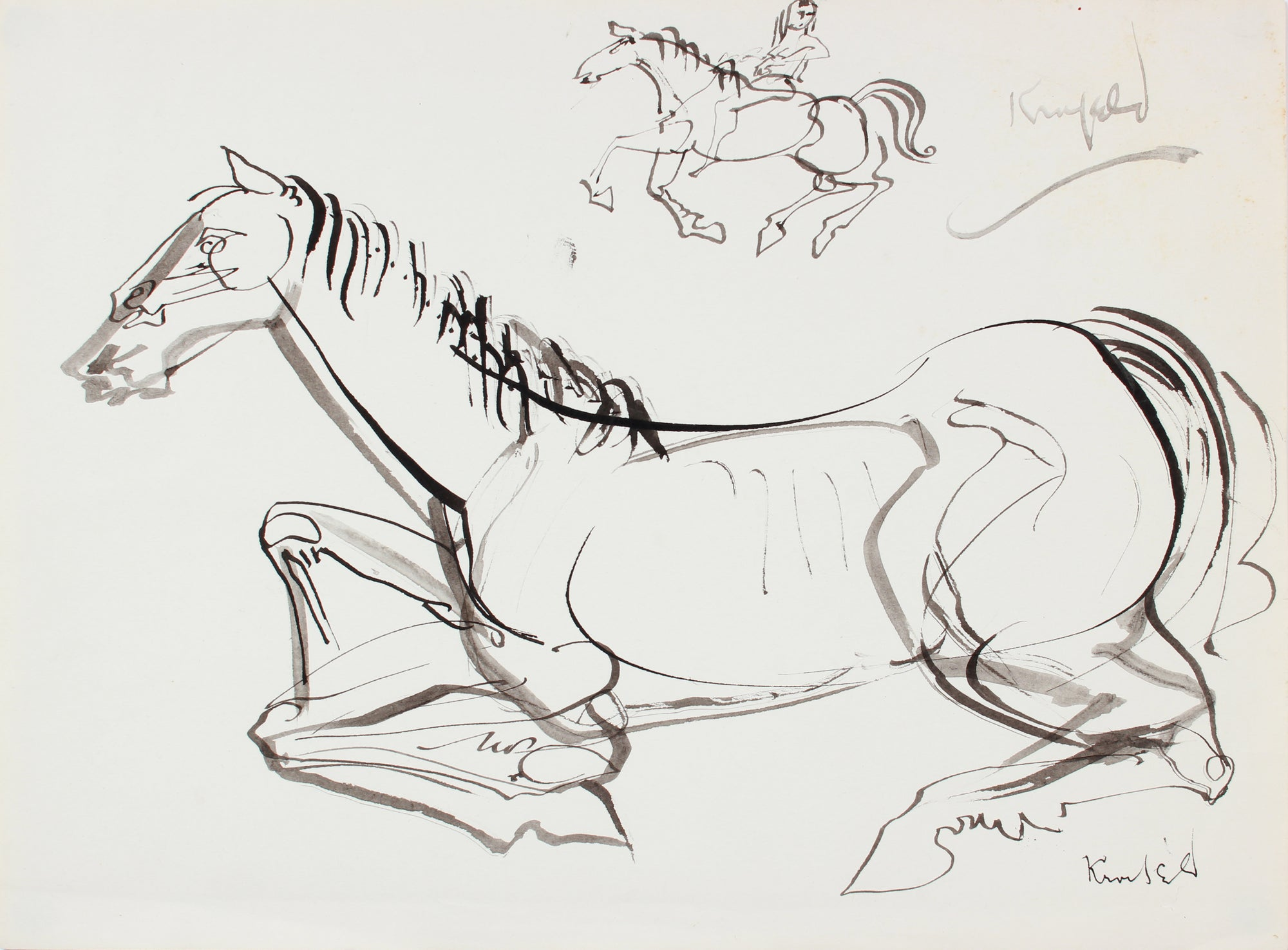 Modernist Horse at Rest <br>1960-80s Ink <br><br>#A7296