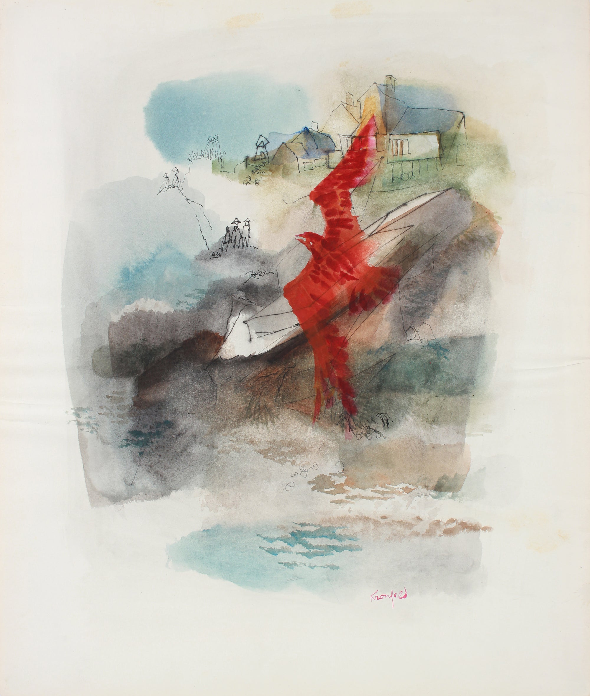 Red Bird in Flight <br>Mid 20th Century Watercolor <br><br>#A7299