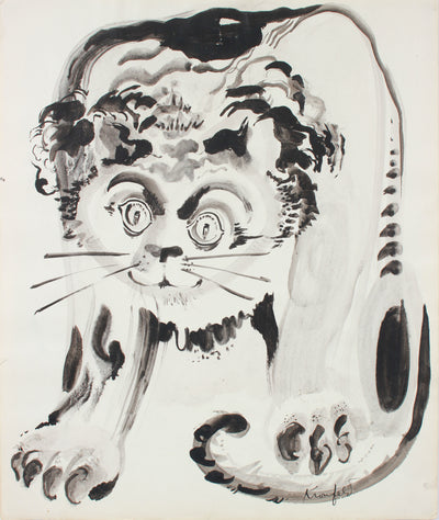 Modernist Lion Drawing <br>1960-80s Ink<br><br>#A7302