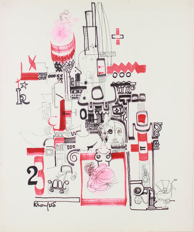 Red & Black Fantasy Architectural Drawing<br>1960-80s Ink <br><br>#A7304