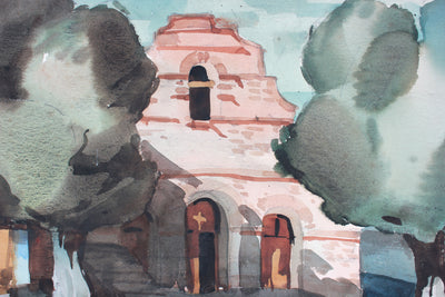 Old Mission, California<br>Mid-Late 20th Century Watercolor <br><br>#A7383