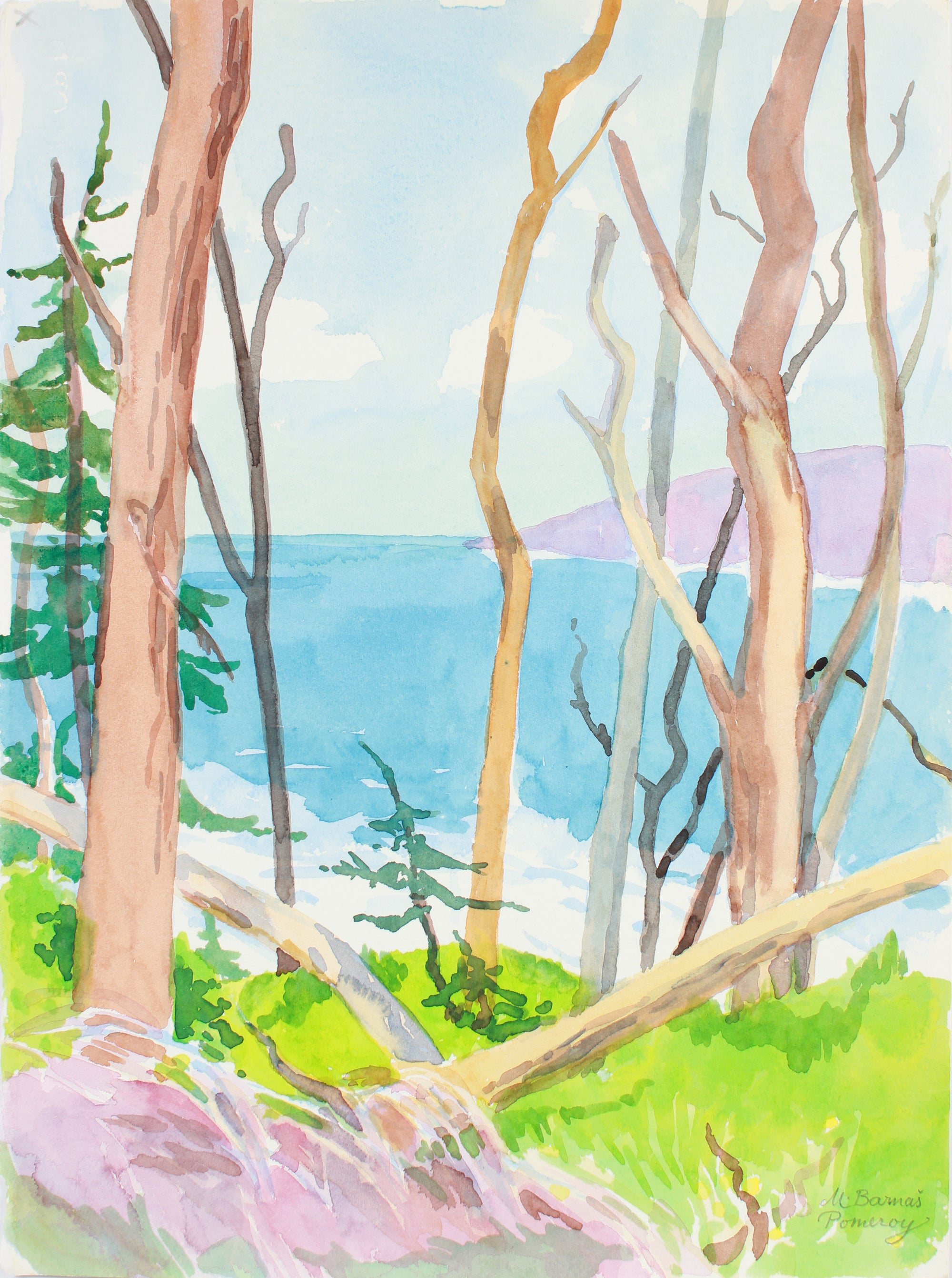 <i>View of Carmel Bay from near Great Dome</i> <br>1999 Watercolor <br><br>#A7387