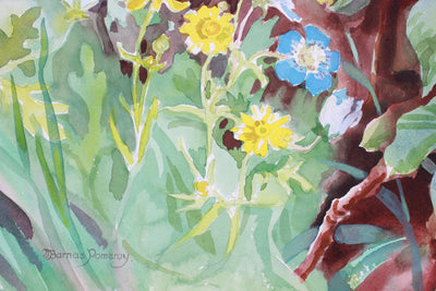 <i>In The Woods (Buttercups & Baby-Blue Eyes) </i><br>Late 20th Century Watercolor <br><br>#A7393