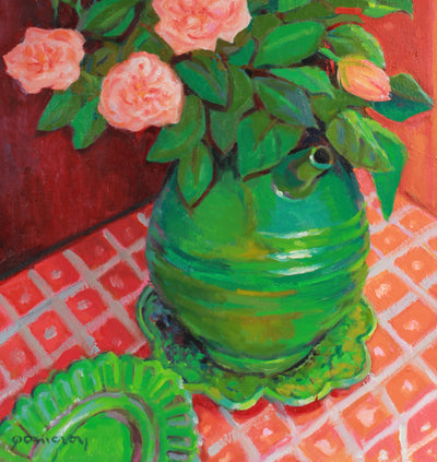 Pink Rose Still Life <br>Mid-Late 20th Century Oil <br><br>#A7404