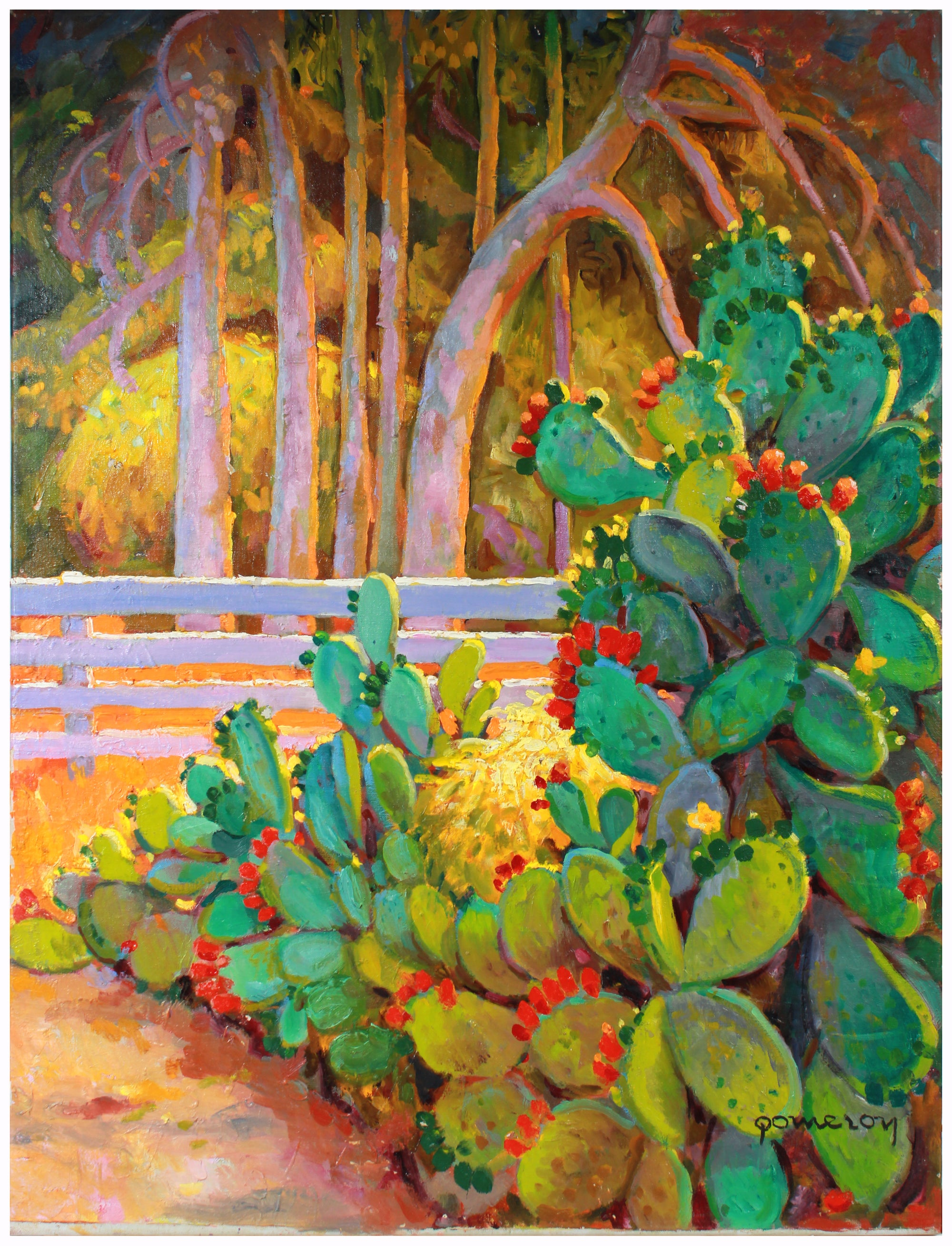 Sunny Cactus Still Life <br>Mid-Late 20th Century Oil <br><br>#A7414