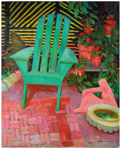 Balcony Still Life <br>Late 20th Century Oil <br><br>#A7417