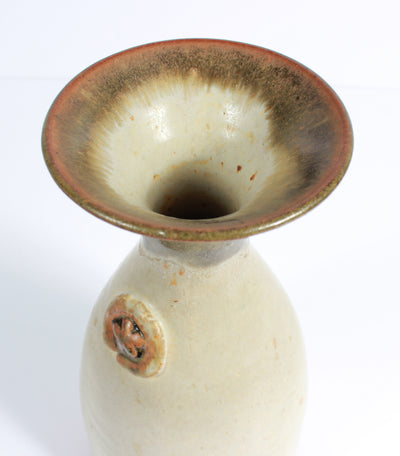 Cream-Colored Vase with Flower Detail <br>1973 Stone Ground Ceramic <br><br>#A7516