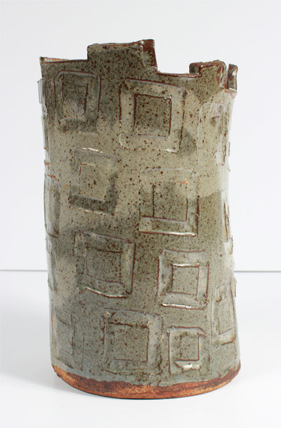 Upright Vessel with Geometric Pattern <br>1987 Stone Ground Ceramic <br><br>#A7532