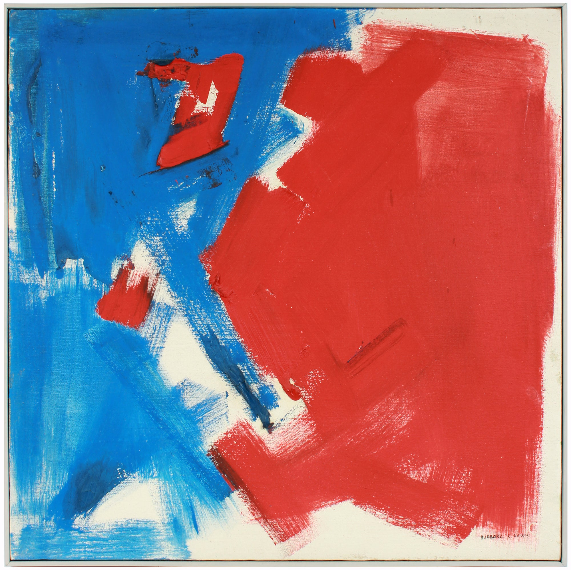 Bold Red & Blue Brushstroke Abstract <br>Mid-Late 20th Century Oil <br><br>#A7585