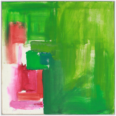 Modernist Green and Violet Abstract<br>Mid-Late 20th Century Oil<br><br>#A7588