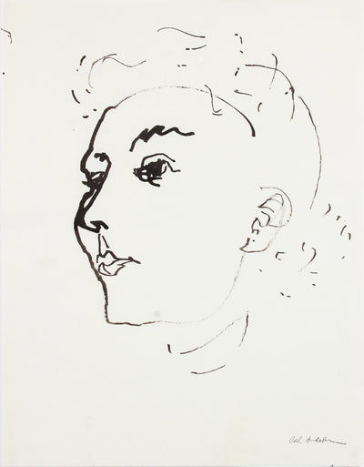 Haughty Female Portrait <br>Mid-20th Century Ink <br><br>#A7614