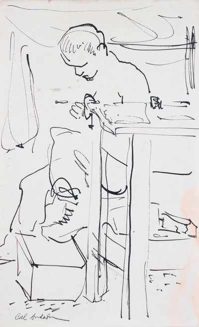 Man in His Workshop, Modernist Drawing <br>Mid Century Ink <br><br>#A7615