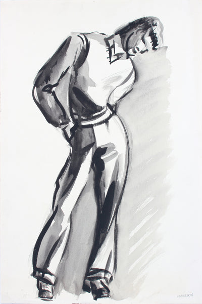 Leaning Male Portrait <br>Mid 20th Century Gouache <br><br>#A7619