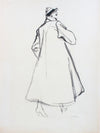 Fashion Overcoat Drawing <br>Mid 20th Century Gouache <br><br>#A7621
