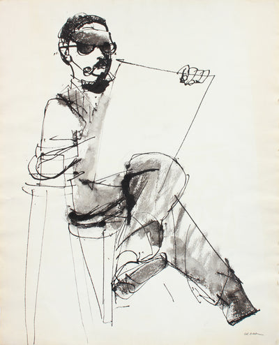 Monochrome Man with Sketchbook <br>Mid Century Gouache <br><br>#A7623