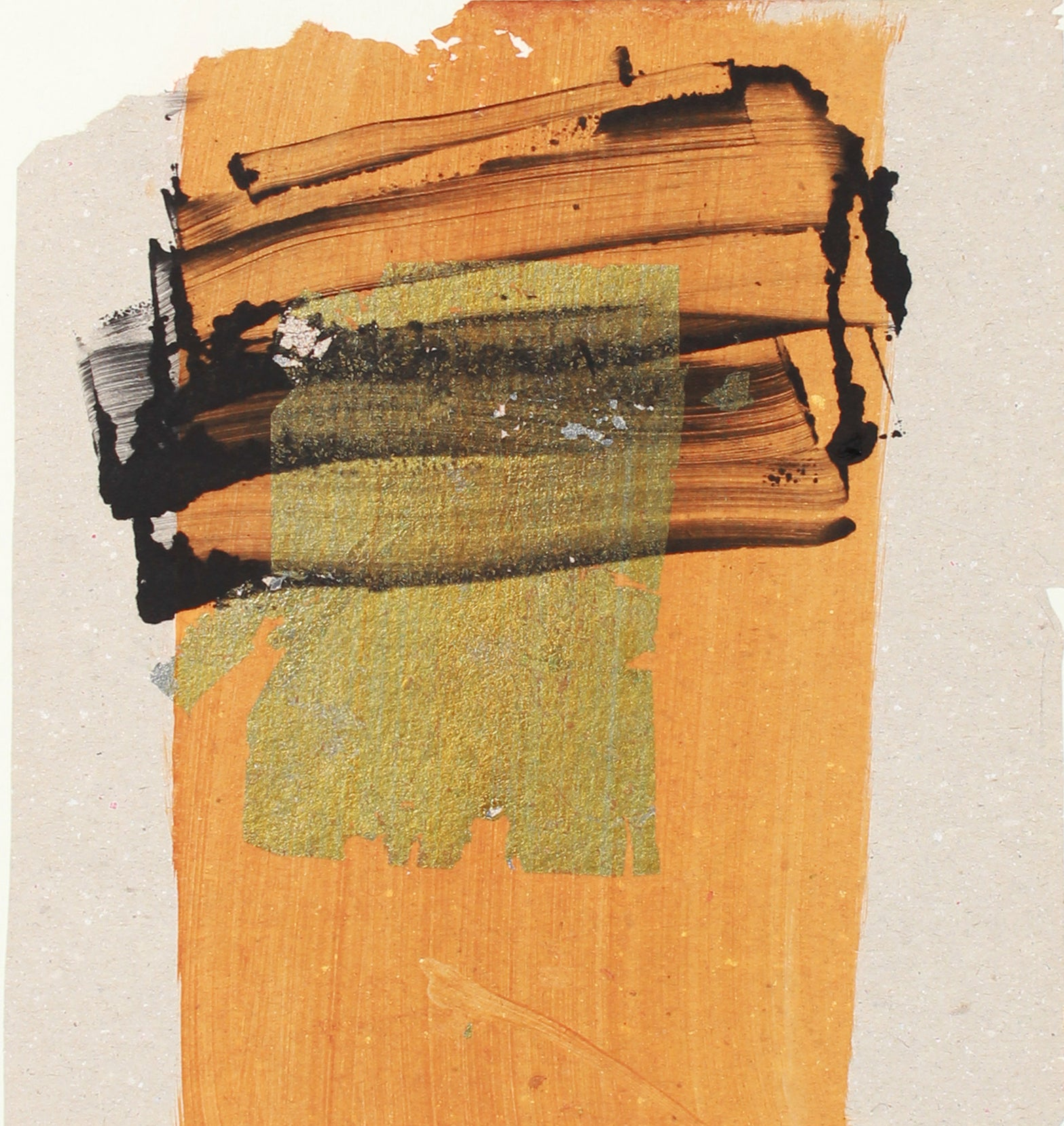 Orange & Gold Modernist Abstract <br>20th Century Monotype <br><br>#A7629
