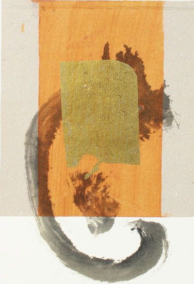 Gold Brushstroke Abstract <br>20th Century Monotype <br><br>#A7630