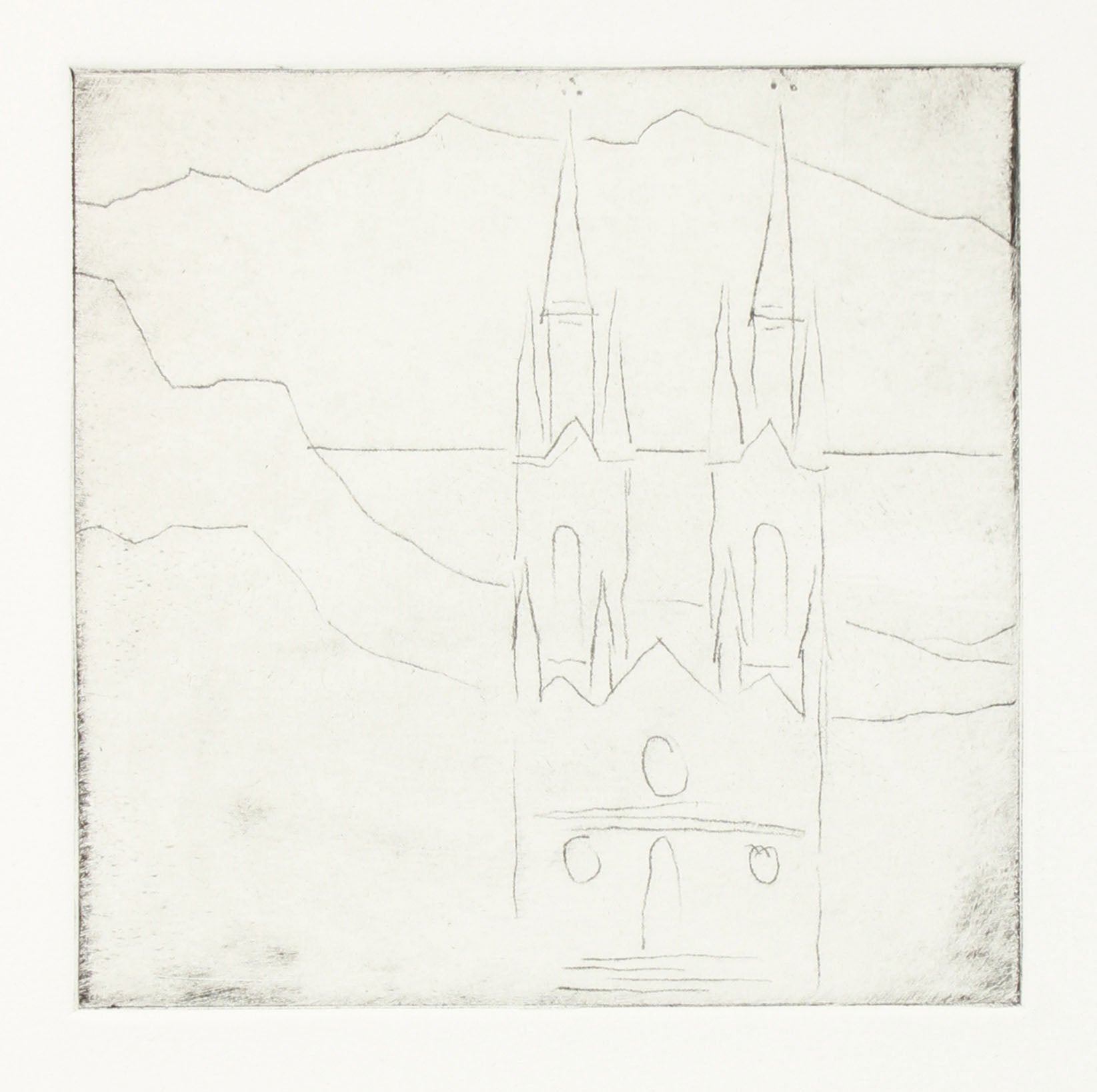 Minimalist View of St. Ignacios, San Francisco <br>20th Century Etching <br><br>#A7635