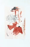 Pale Red Gestural Abstract <br>20th Century Monotype <br><br>#A7638