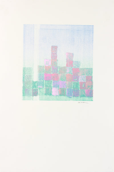 Pale Pastel Geometric Abstract <br>1990-2000s Monotype <br><br>#A7641