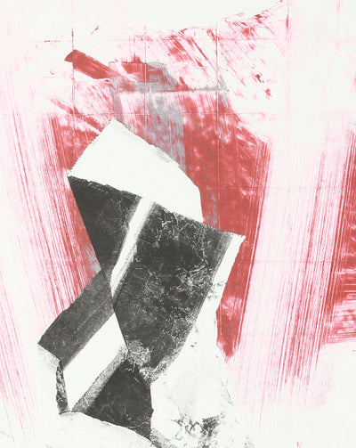 Gestural Rd & Black Abstract<br>Late 20th Century Monotype <br><br>#A7645