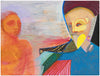 Two Colorful Surreal Figures <br>1995 Oil <br><br>#A7741