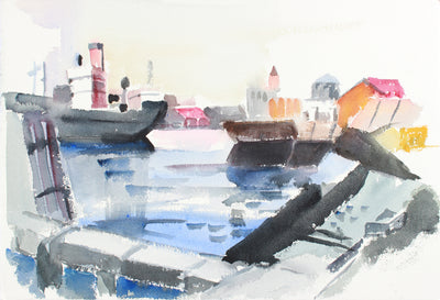 Balcony Cityscape View <br>Mid to Late 20th Century Watercolor <br><br>#A7775