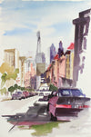 San Francisco Streetview & Skyline <br>20th Century Watercolor <br><br>#A7780