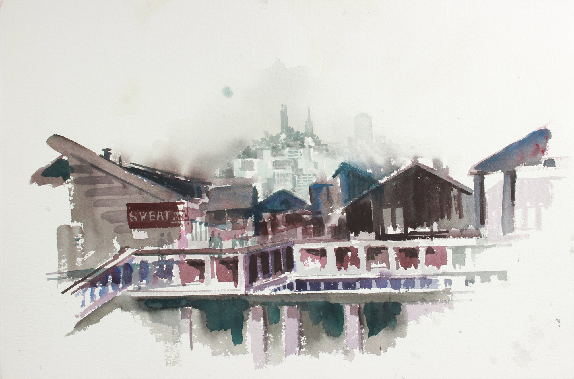 San Francisco Industrial Cityscape <br>Mid to Late 20th Century Watercolor <br><br>#A7782