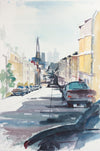 San Francisco Streetview & Skyline <br>Mid to Late 20th Century Watercolor <br><br>#A7784