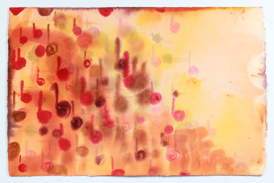 Fiery Music Note in Abstraction <br>Late 20th Century Watercolor<br><br>#A7795