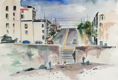 View From Ocean Beach <br>Mid-Late 20th Century Watercolor <br><br>#A7805